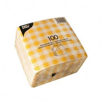 Serwetki 30x30 żółta krata...