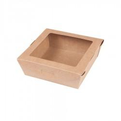 Pudełko sałatkowe z oknem PLA 700ml brązowe