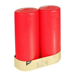 Pillar candles 80 mm 220 mm red with flat head