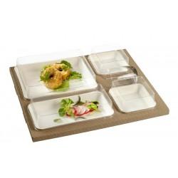 Lunch Set - Kanopee 4 białe tacki 375x310x65mm,