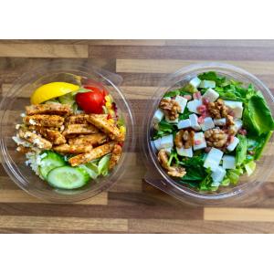Pojemniki sałatkowe okrągłe. Opakowania na wynos. Opakowania jednorazowe.  Opakowania cateringowe. Opakowania dla gastronomii